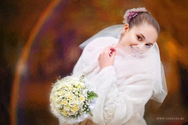 Свадебная фотография, портрет невесты холст