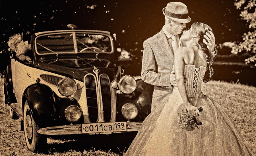 Свадебная фотография ретро автомобиль BMW 1936г.